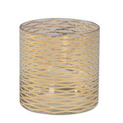 Gold Ribbons Glass Vase