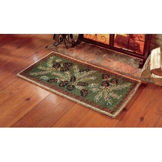 Hooked Wool Pine Cone Fireplace Rug