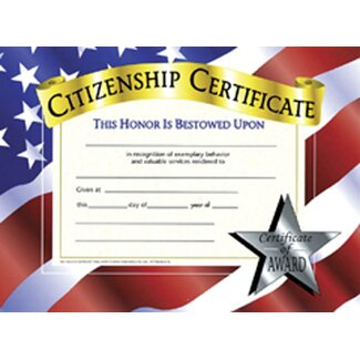 <strong>Hayes School Publishing</strong> Citizenship Certificate (Set of 30)