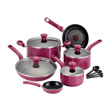 t fal excite 14 piece cookware set with thermo spot reviews wayfair. Black Bedroom Furniture Sets. Home Design Ideas