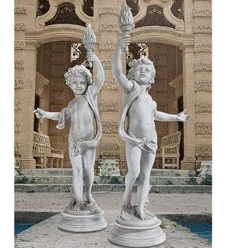 Lighting the heavens grande cherub sentinel statue wayfair - Grande statue design ...