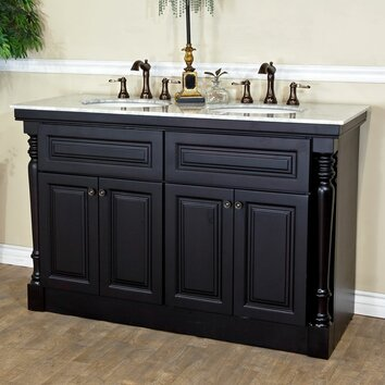 bellaterra home 55 double bathroom vanity set reviews wayfair. Black Bedroom Furniture Sets. Home Design Ideas