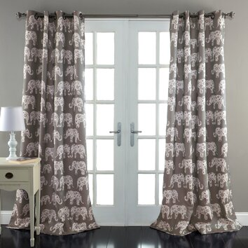 Lush Decor Elephant Parade Window Curtain Panel (Set of 2)