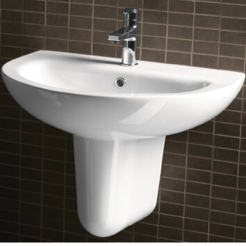City Modern Curved Wall Hung Half Pedestal Bathroom Sink
