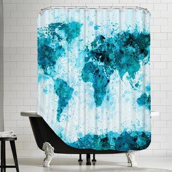 World map 2 shower curtain wayfair - Old world map shower curtain ...