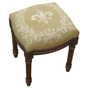 123 Creations French Fleur De Lis Linen Upholstered Vanity