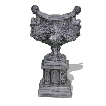Amedeo Design ResinStone Bathing Cherub Urn - Bathing cherub urn is a gorgeous and distinct piece full of character and detail. With meticulously crafted inlays, as well as two lovely cherubs on either side, and ornate garlands adorning the facade,