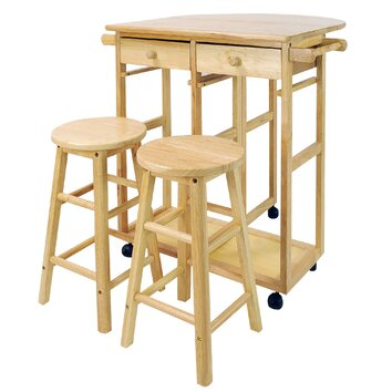 Casual Home 3 Piece Kitchen Island with Wooden Top & Stool