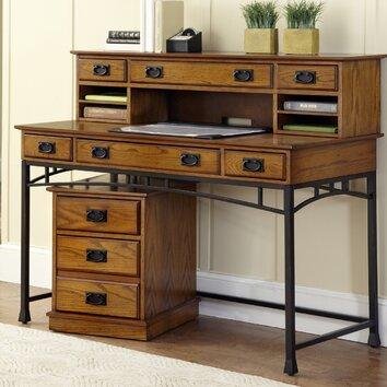 Custom writing bay desk with hutch