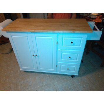 Dorothy Kitchen Island With Wood Top