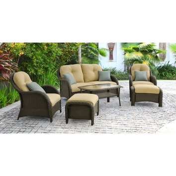 Hanover Newport 6 Piece Wicker Deep Seating Group with Cushions