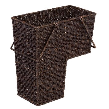 Trademark Innovations Wicker Storage Stair Basket with Handles