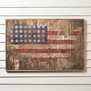 Birch lane american flag wood wall art reviews wayfair American flag wood wall art