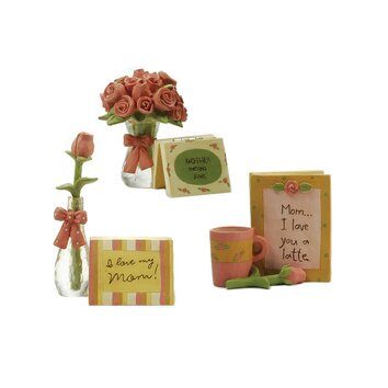 Blossom bucket 3 piece mothers day roses and cards statue set 123 84483