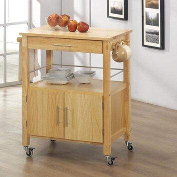 vancouver kitchen cart with butcher block top wayfair