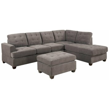 Madison home usa reversible chaise sectional reviews for Gray sectional sofa wayfair