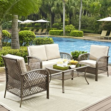 Beachcrest Home Tribeca 4 Piece Deep Seating Group with Cushions