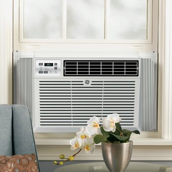 General Electric 6050 BTU Energy Star Window Air Conditioner with Remote, Airflow (cfm) roomside (hi/low): 180 Chassis type: Fixed Filter type: One touch lift-out Louver style: 4-Way adjustable Mounting type: EZ mount