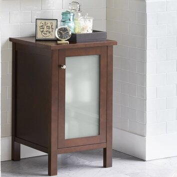 Bathroom side cabinet with frosted glass door in dark for Cherry kitchen cabinets with glass doors