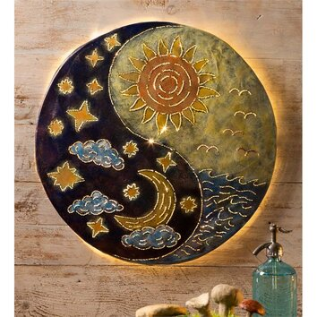 wind weather sun and moon yin yang painting print plaque With best brand of paint for kitchen cabinets with sun moon metal wall art