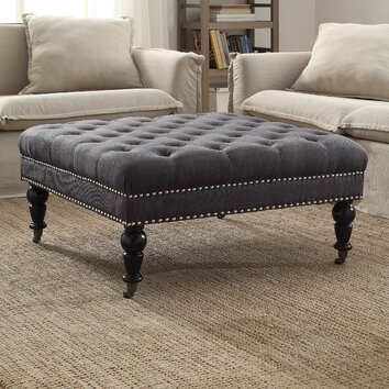 Linon Isabelle Square Tufted Ottoman