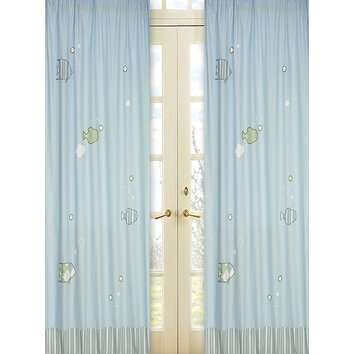 Sweet jojo designs go fish curtain panels reviews wayfair for Fish curtains for windows