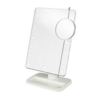 Jerdon Portable Led Lighted Tabletop Makeup Mirror