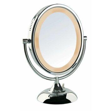 jerdon halo lighted vanity mirror reviews wayfair. Black Bedroom Furniture Sets. Home Design Ideas