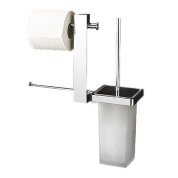 Gedy by nameeks bridge wall mounted free standing toilet brush set reviews wayfair for Bathroom butler toilet paper holder