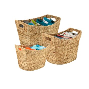 Honey Can Do 3 Piece Tall Natural Basket Set