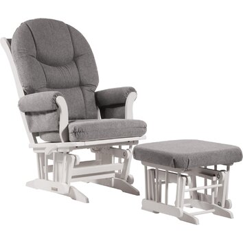 Dutailier Sleigh Multiposition Reclining Glider & Nursing Ottoman Set in White