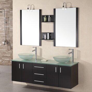 Design element modena 61 floating double bathroom vanity for Kitchen set modena