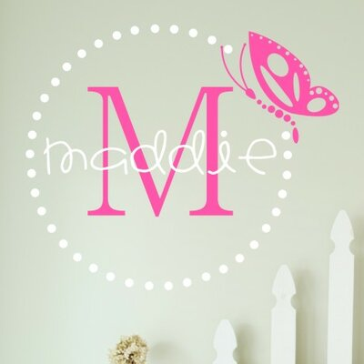 Alphabet Garden Designs Personalized Butterfly Dots Monogram Wall Decal