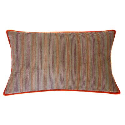 Desi Stripe Hand Block Printed Embroidered Linen Lumbar Pillow by Jiti