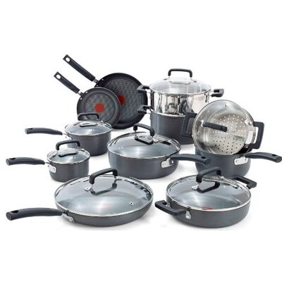 Signature Hard Anodized 18 Piece Cookware Set by T-fal