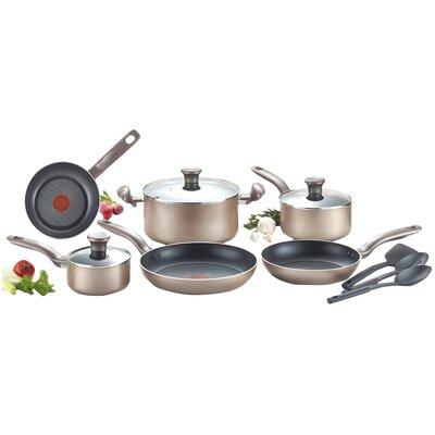 Metallic Bronze 12 Piece Cookware Set by T-fal