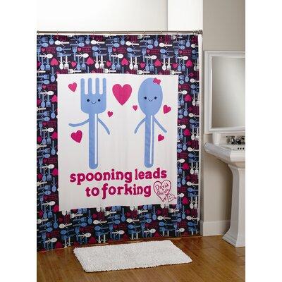 David & Goliath Spooning Cotton Sateen Shower Curtain