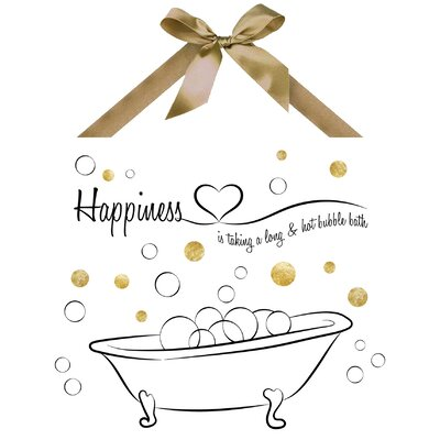 Happiness Graphic Art on Plaque by PTM Images