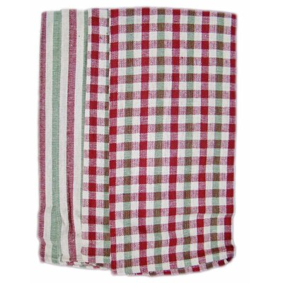4 Piece Plain Weave Checker / Striped Kitchen Towel Set by Textiles Plus Inc.