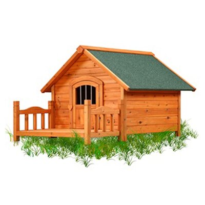 The Pet Squeak Porch Pups Dog House has a paneled design and is constructed to look natural and one with nature. The dog house satisfies your dog's need for privacy.