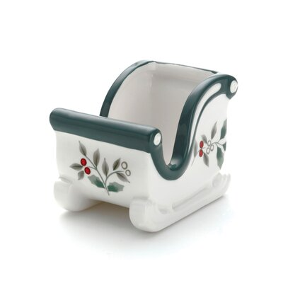 Pfaltzgraff Winterberry Sled Shaped Sweetner Holder