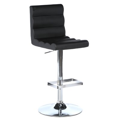 Marty Adjustable Height Swivel Bar Stool with Cushion by Wade Logan