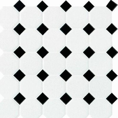 """Daltile Octagon and Dot 2"""" x 2"""" Ceramic Mosaic Tile in White"""