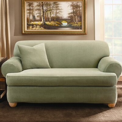 Sure-Fit Stretch Stripe Two Piece Loveseat T-Cushion Slipcover