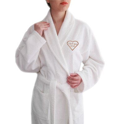 I Love You Mom Embroidered Terry Bathrobe by Linum Home Textiles