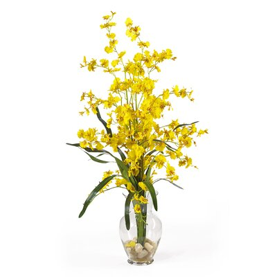 Dancing Lady Liquid Illusion Silk Orchid Arrangement in Yellow by Nearly Natural