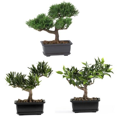 Nearly Natural Silk Bonsai 3 Piece Desk Top Plant with Planter