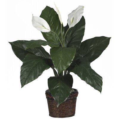 Nearly Natural Silk Spathyfillum Desk Top Plant in Pot