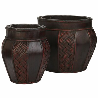 Nearly Natural Nearly Natural 2 Piece Round Pot Planter Set
