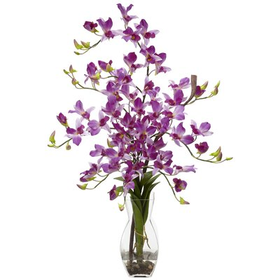 Nearly Natural Dendrobium with Vase Silk Floral Arrangements in Purple